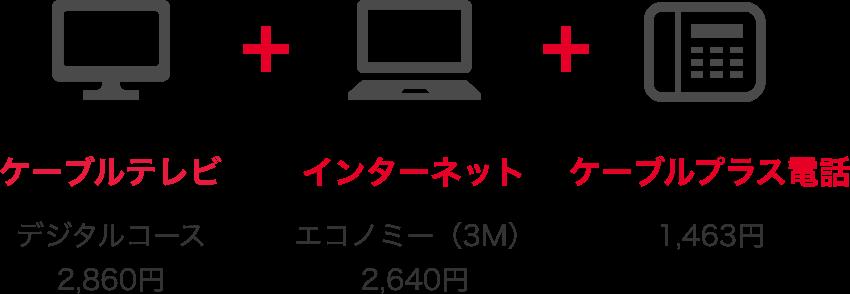 ケーブルテレビデジタルコース2,600円+インターネットエコノミー(3M)2,400円+ケーブルプラス電話1,330円